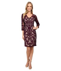 Adrianna Papell Lined Two Tone Art Deco Lace Sheath Dress With V Necklin Wineberry Pale Pink Women's Dress Wineberry Pale Pink