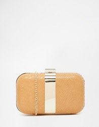 Liquorish Faux Snakeskin Box Clutch Bag Nude
