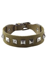 Valentino Rockstud Bracelet With Leather Green