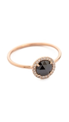 Blanca Monros Gomez Large Aura Solitaire Ring Rose Gold Black Diamond