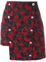 Versus Camouflage Asymmetric Skirt Red
