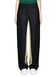 Cedric Charlier Striped Inseam Wide Leg Pants Black