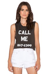 Local Celebrity Call Me Crop Muscle Tank Black