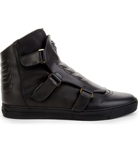 Versace Triple Strap Leather High Top Trainers Black