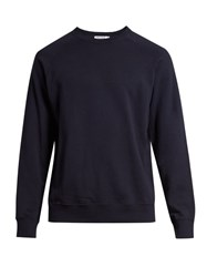 Frame Raglan Crew Neck Cotton Sweatshirt Navy