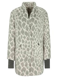 Oui Snow Leopard Coat Off White Grey