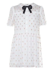 Saint Laurent Ice Cream Embroidered Georgette Dress