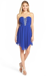 Way In Jeweled Inset High Low Strapless Dress Dark Classic Royal