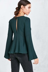 Kimchi And Blue Sidney Bell Sleeve Babydoll Blouse Green