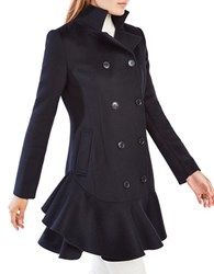 Bcbgmaxazria Talia Ruffled Double Breast Wool Blend Coat Black