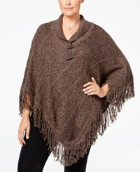 Karen Scott Plus Size Cable Knit Fringe Poncho Only At Macy's Java Brownie Marble