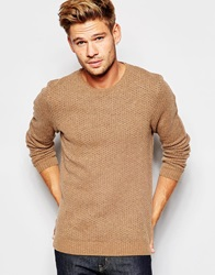 Asos Lambswool Rich Crew Neck Jumper With Pin Dots Tan