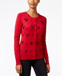 Charter Club Sequined Bow Cardigan Only At Macy's New Red Amore