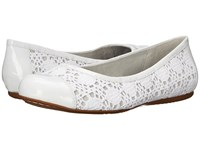 Softwalk Napa White Crochet Patent Women's Flat Shoes
