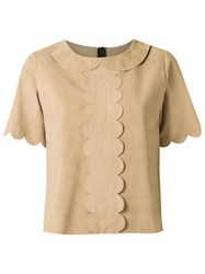 Andrea Bogosian Scalloped Top Brown