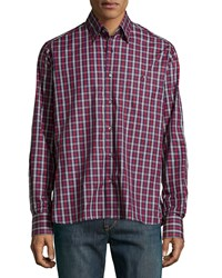 Ike Behar Check Sport Shirt Red Blue