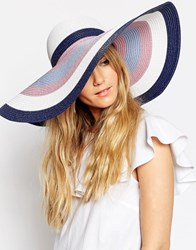 Asos Oversized Straw Floppy Hat In Pastel Stripe Multi