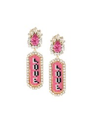 Shourouk 'Moodz Love' Clip On Earrings Pink And Purple