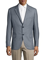 Brioni Long Sleeve Button Front Sportcoat Sky Blue
