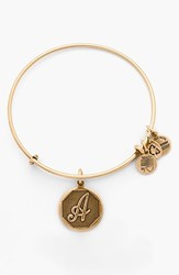Women's Alex And Ani 'Initial' Adjustable Wire Bangle A Russian Gold