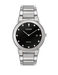 Citizen Mens Axiom Eco Drive Diamond Stainless Steel Bracelet Watch Silver
