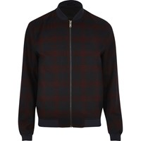 River Island Mens Red Formal Check Bomber Jacket