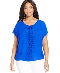 Ing Plus Size Short Sleeve Crochet Trim Blouse Royal Blue