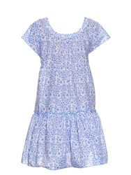Thierry Colson Paola Porcelain Print Tiered Dress Blue White
