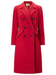 Jacques Vert Double Breasted Coat Dark Red
