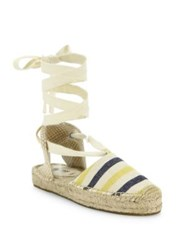 Soludos Striped Canvas Lace Up Espadrille Sandals Mustardna