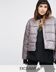 Puffa Oversized Collarless Padded Jacket In Luxe Fabric Steel Stone