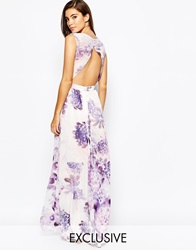 True Violet Floral Maxi Dress With Open Back Purple