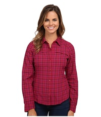 Columbia Silver Ridge Plaid L S Pomegranate Ripstop Women's Long Sleeve Button Up Pink