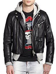 Dsquared Cropped Leather And Hooded Jacket Black