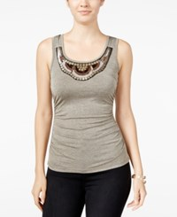 Amy Byer Bcx Juniors' Embellished Cutout Tank Top Chamapgne