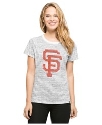 '47 Brand Women's San Francisco Giants Sparkle Stripe T Shirt Navy White