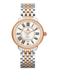 Michele Serein Diamond Mother Of Pearl 18K Rose Goldplated And Stainless Steel Bracelet Watch Silver Rose Goldtone