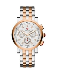 Michele Sport Sail 18 Diamond And 18K Rose Goldplated And Stainless Steel Chronograph Bracelet Watch