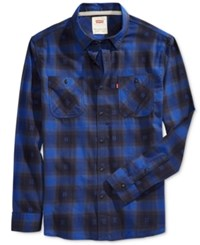 Levi's Men's Long Sleeve Merchant Plaid Work Shirt Night Sky