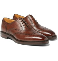 Gaziano And Girling Rothschild Cross Grain Leather Wingtip Brogues Brown