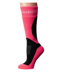 Spyder Surprise Sock Black Bryte Pink White Women's Knee High Socks Shoes