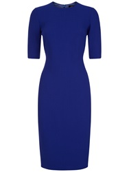 Jaeger Wool Top Fitted Dress Bright Purple