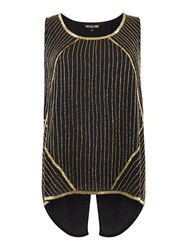 Biba Drape Back Fully Embellished Sleeveless Blouse Black Gold