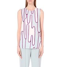 Kenzo Abstract Cactus Print Sleeveless Top Steel Grey