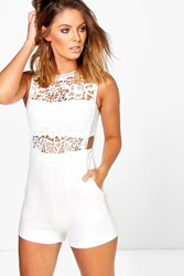 Boohoo Amy Crochet Barely There Playsuit White