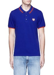 Kenzo Tiger Embroidered Patch Polo Shirt Blue