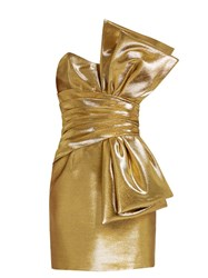 Saint Laurent Strapless Lame Bow Dress Gold