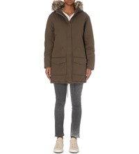 The Kooples Showerproof Cotton Parka Coat Khaki