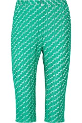 Missoni Cropped Crochet Knit Straight Leg Pants Green