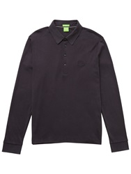 Boss Logo Boss Green Long Sleeve Polo Shirt Dark Blue